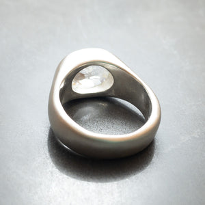 Sterling silver and white topaz signet rings