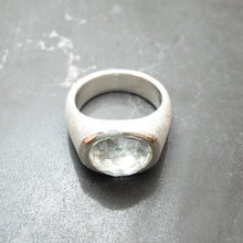 Load image into Gallery viewer, Sterling silver and white topaz signet rings