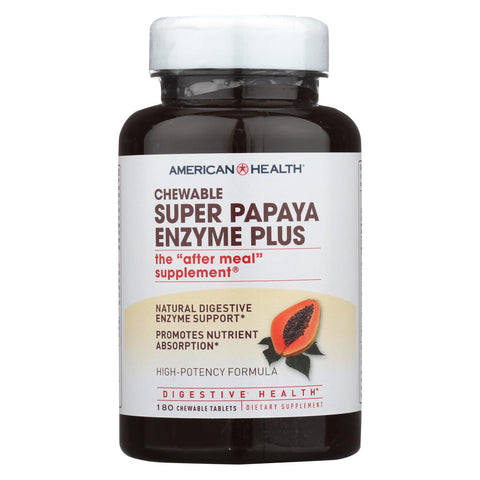 American Health - Super Papaya Enzyme Plus Chewable - 180 Chewable Tablets