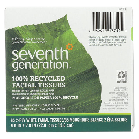 Seventh Generation Recycled Facial Tissue - Cube - Case Of 36 - 85 Count