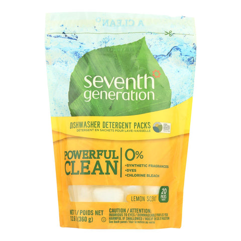 Seventh Generation Auto Dish Packs - Free And Clear - Case Of 12 - 20 Count