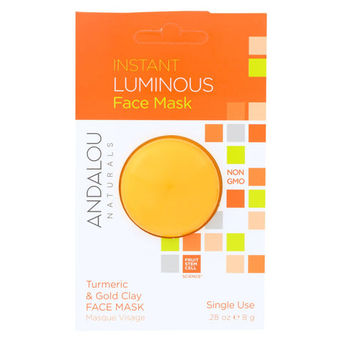 Andalou Naturals Instant Luminous Face Mask - Turmeric & Gold Clay - Case Of 6 - 0.28 Oz