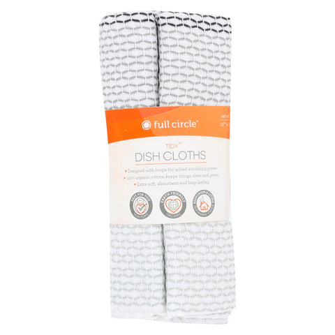 Full Circle Home - Tidy Dish Cloths - Grayscale - Case Of 6 - 3 Count