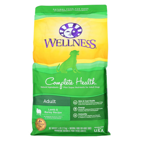 Wellness Pet Products Dog Food - Lamb And Barley Recipe - Case Of 6 - 5 Lb.