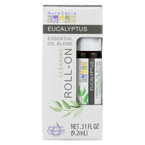 Aura Cacia - Roll On Essential Oil - Eucalyptus - Case Of 4 - .31 Oz