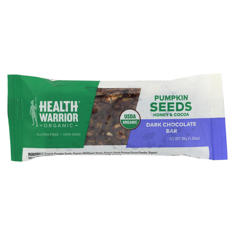 Health Warrior Pumpkin Seed Bar - Dark Chocolate - Case Of 12 - 1.23 Oz.