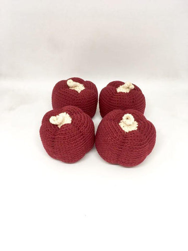 Set of 4 crocheted burgundy pumpkins