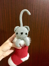 Load image into Gallery viewer, Amigurumi cat in the Christmas sock