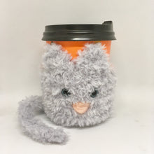 Load image into Gallery viewer, Cat mug cozy grey fluffy