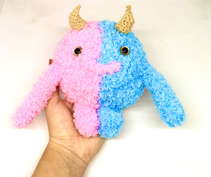 Pink and blue monster