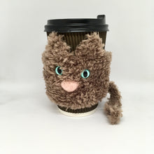 Load image into Gallery viewer, Cat mug cozy brown fluffy