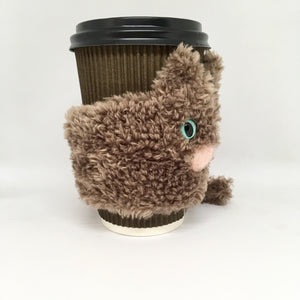 Cat mug cozy brown fluffy