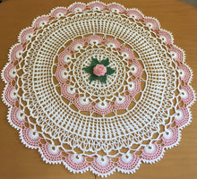 Load image into Gallery viewer, Crocheted white doily with flowers