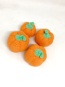 Set of 4 crocheted pumpkins