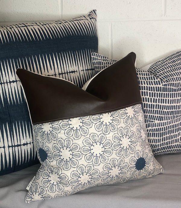 Dahlia Cushion Cover + Leather