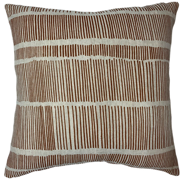 Brown Poles Cushion Cover + Caramel Leather back