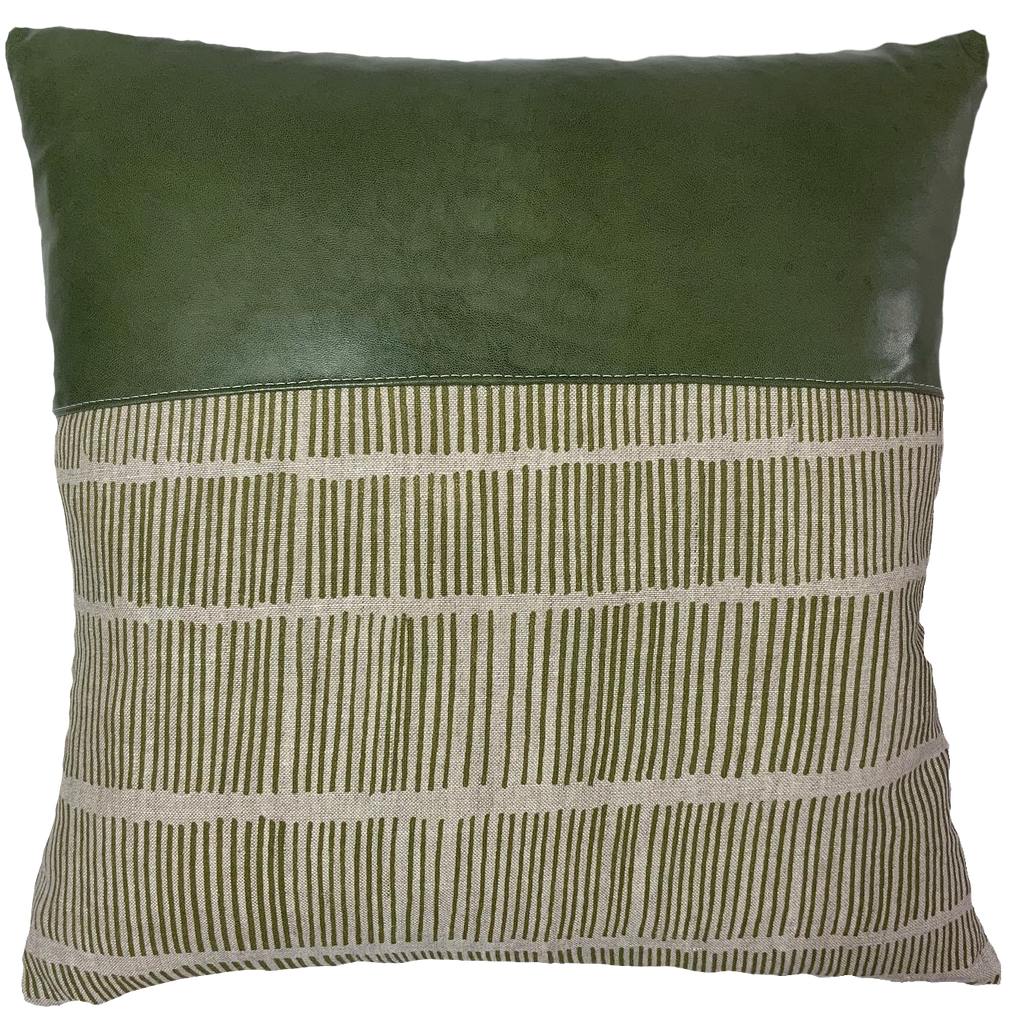 Green Poles Cushion Cover with forest green lamb leather by Chil and Co Designs