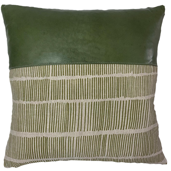 Green Poles Cushion Cover with forest green lamb leather