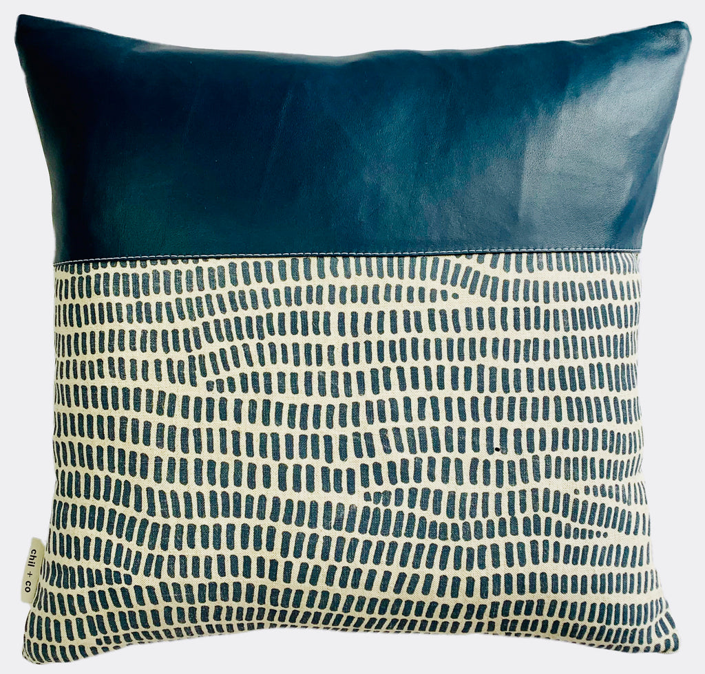 Bella Blue - Leather Range Cushion Cover by Chil and Co.