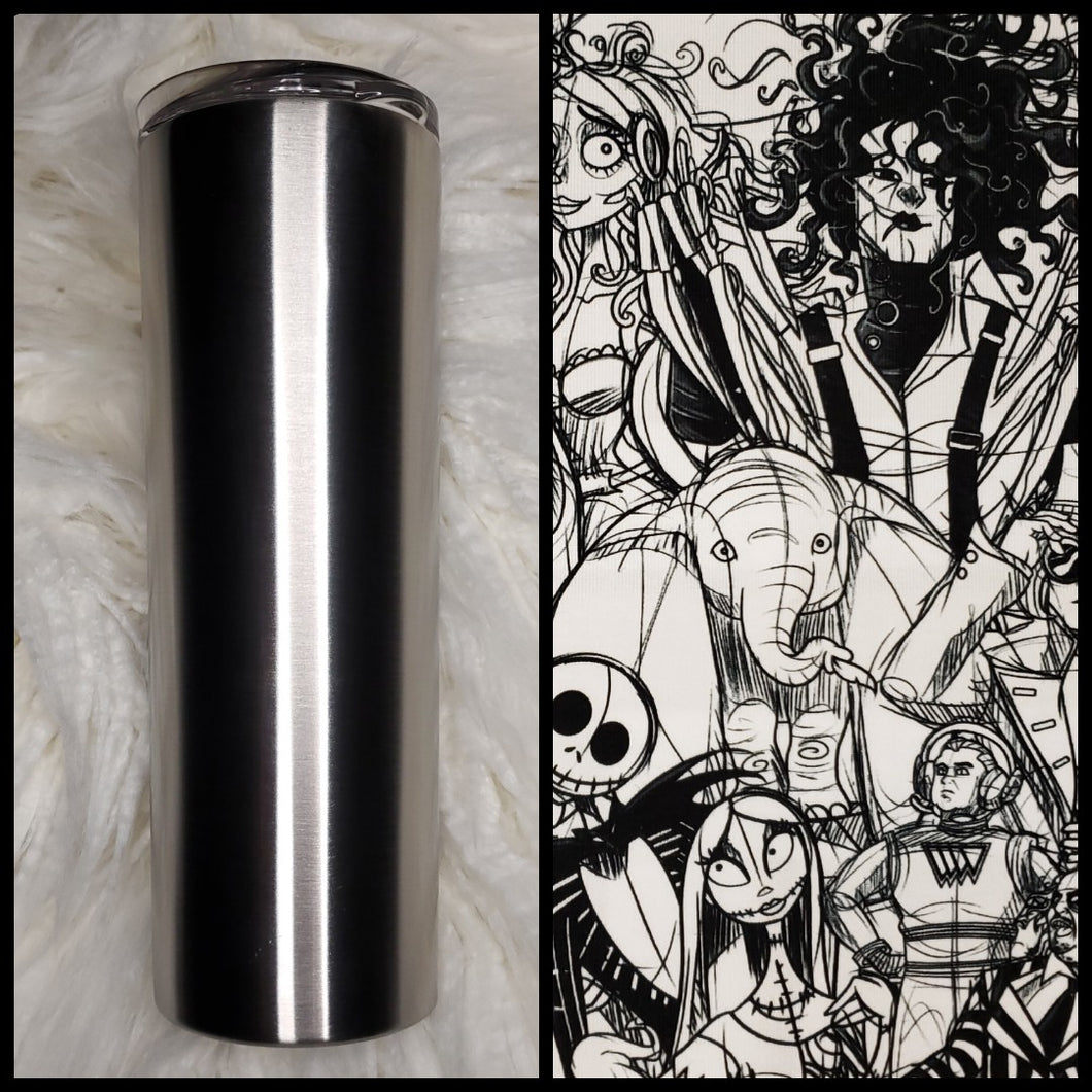Tim Burton- Black & white sketch- 20oz Fabric Tumbler