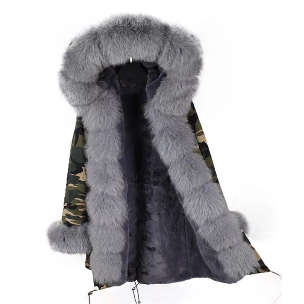 Khaki Army Fox Fur collar Parka Coat - Grey Fox Fur - Poshpoms