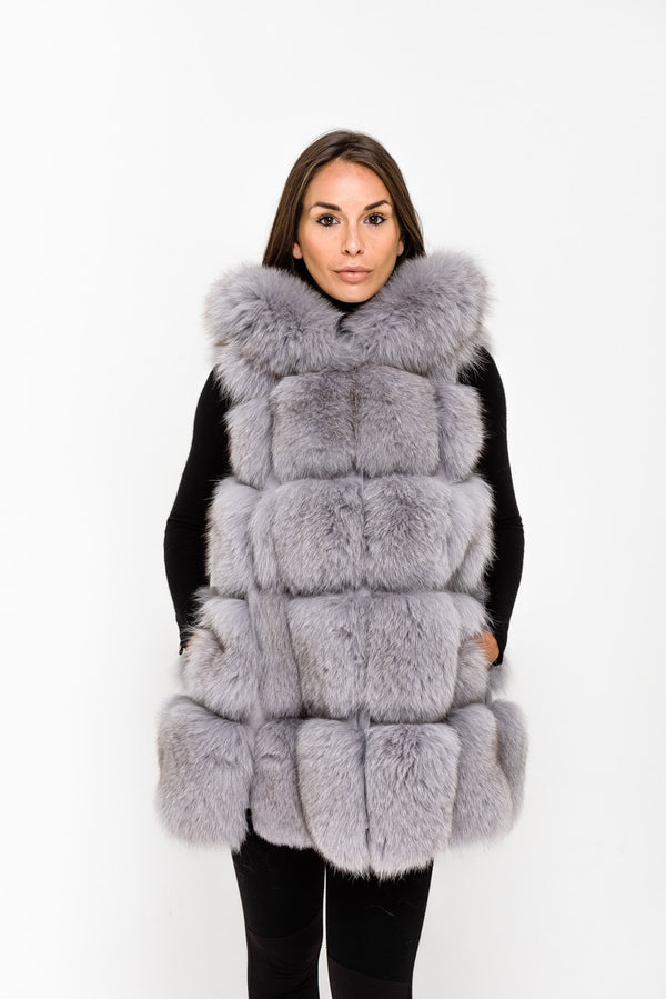 Light Grey Hooded Fox Fur Gilet - Poshpoms