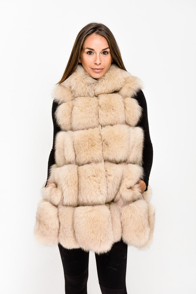Beige Hooded Fox Fur Gilet - Poshpoms