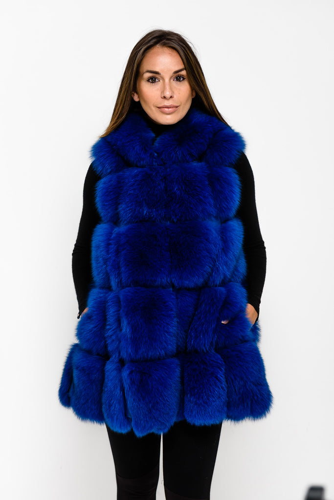Electric Blue Hooded Fox Fur Gilet - Poshpoms