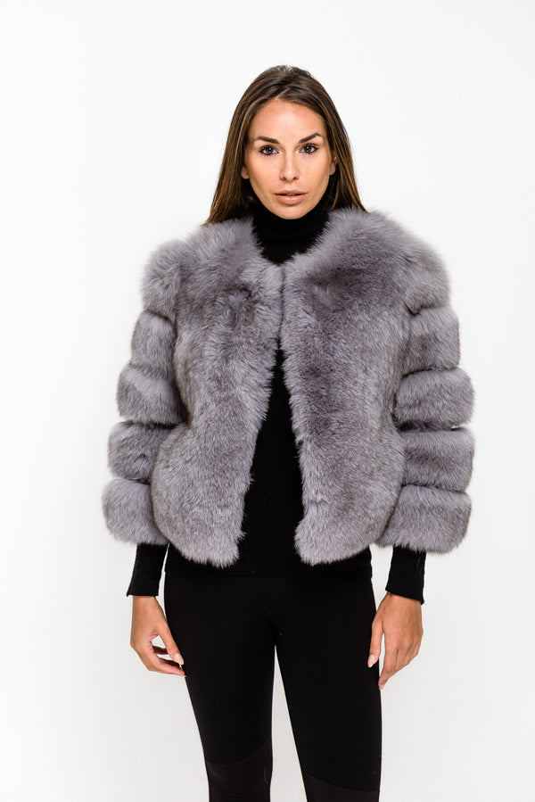 Light Grey Fox 3/4 Fox Fur Coat - Poshpoms