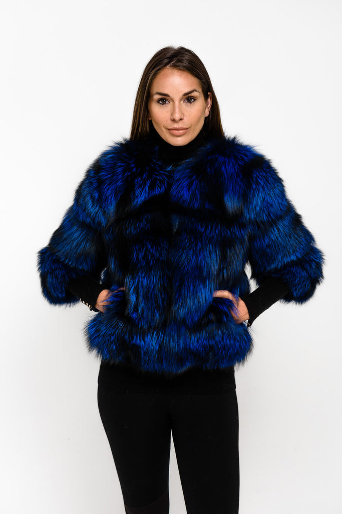 Blue Special Edition Fox Fox Fur Coat - Poshpoms