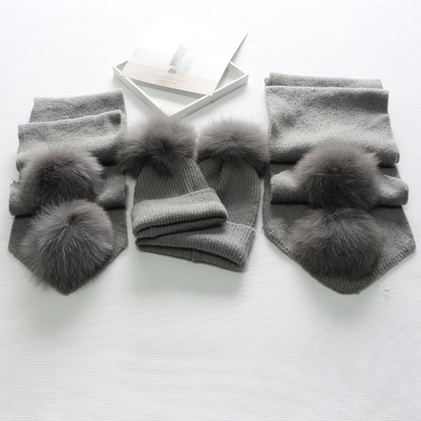 Dark Grey Matching Fox Fur Gift Set - Poshpoms