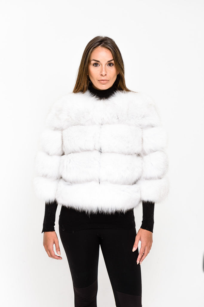 White Four Panel Fox Fur Coat - Poshpoms