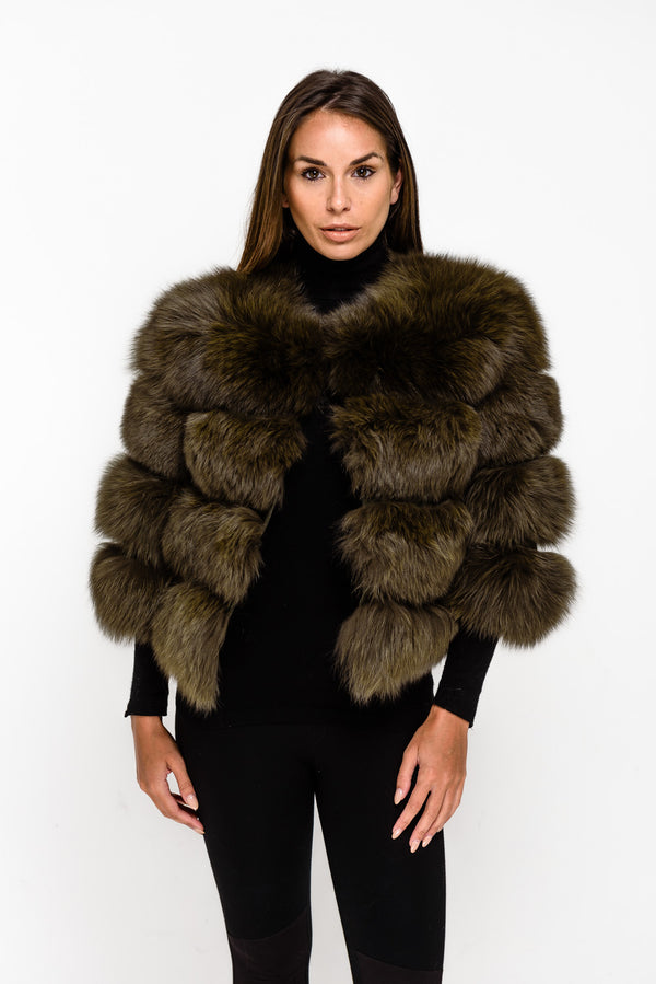 Khaki Four Panel Fox Fur Coat - Poshpoms