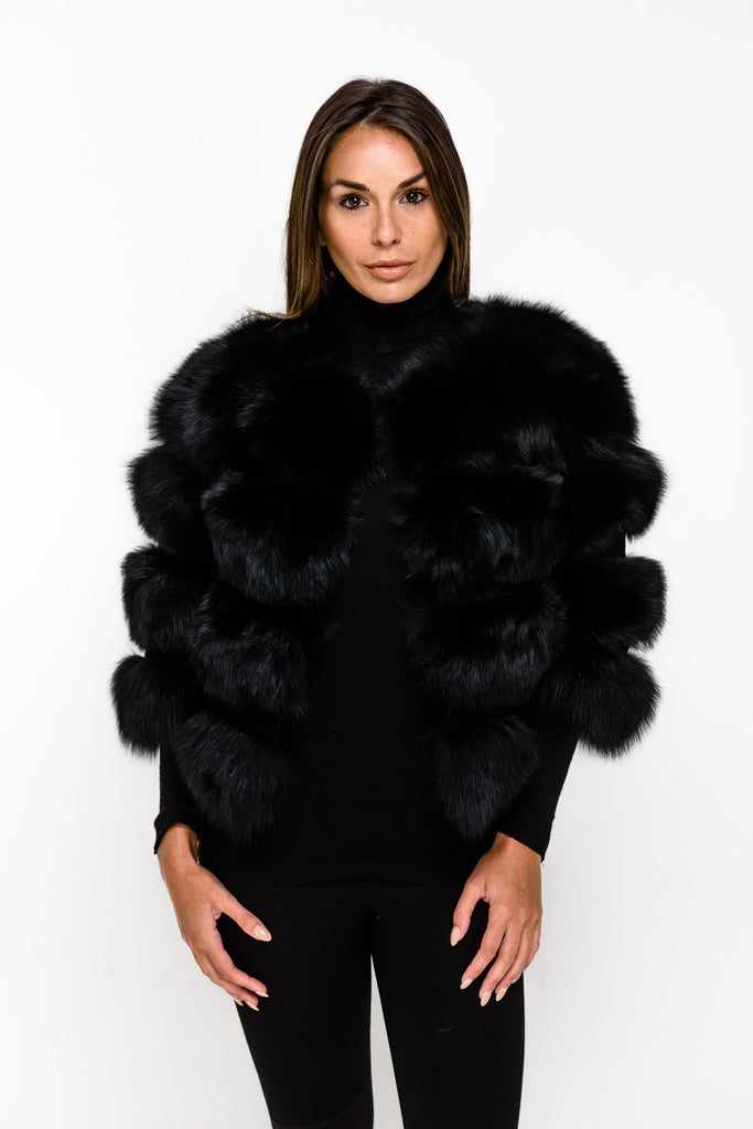 Black Four Panel Fox Fur Coat - Poshpoms