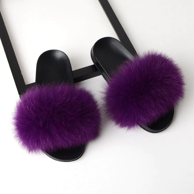 Fox Fur Sliders - Purple