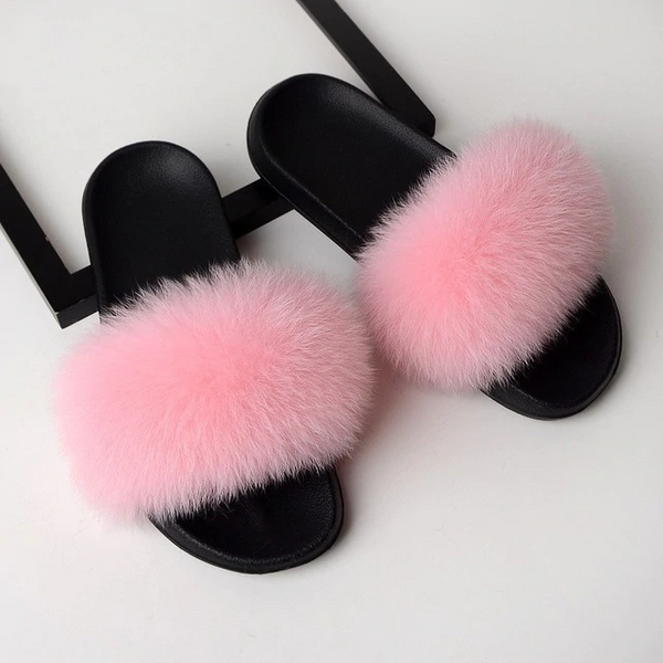 Fox Fur Sliders - Baby Pink