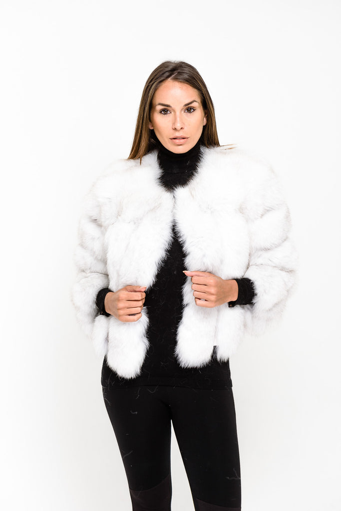 White Short Panel Fox Fur Coat - Poshpoms