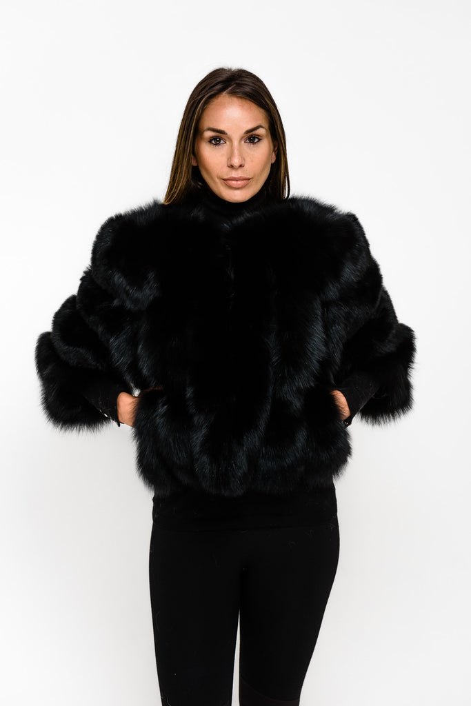 Black Short Panel Fox Fur Coat - Poshpoms