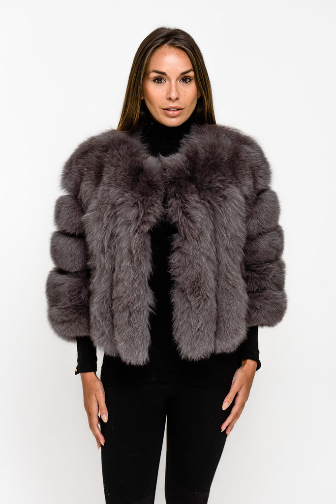 Dark Grey Short Panel Fox Fur Coat - Poshpoms