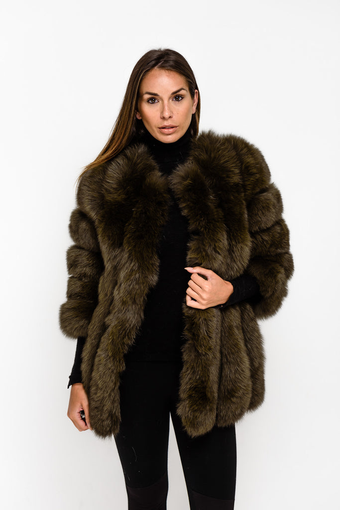 Khaki Long Panel Fox Fur Coat - Poshpoms
