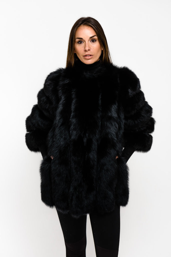 Black Long Panel Fox Fur Coat - Poshpoms