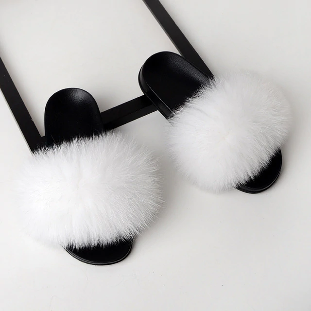 Fox Fur Sliders - White