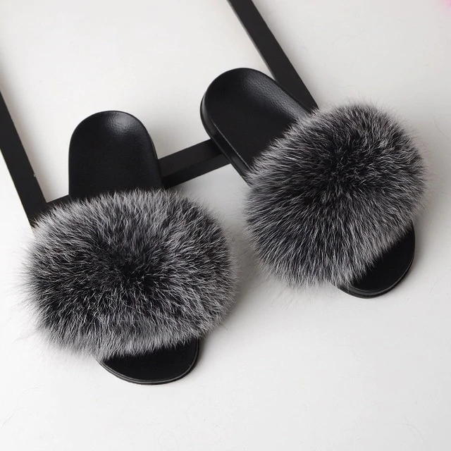 Fox Fur Sliders - Silver Fox