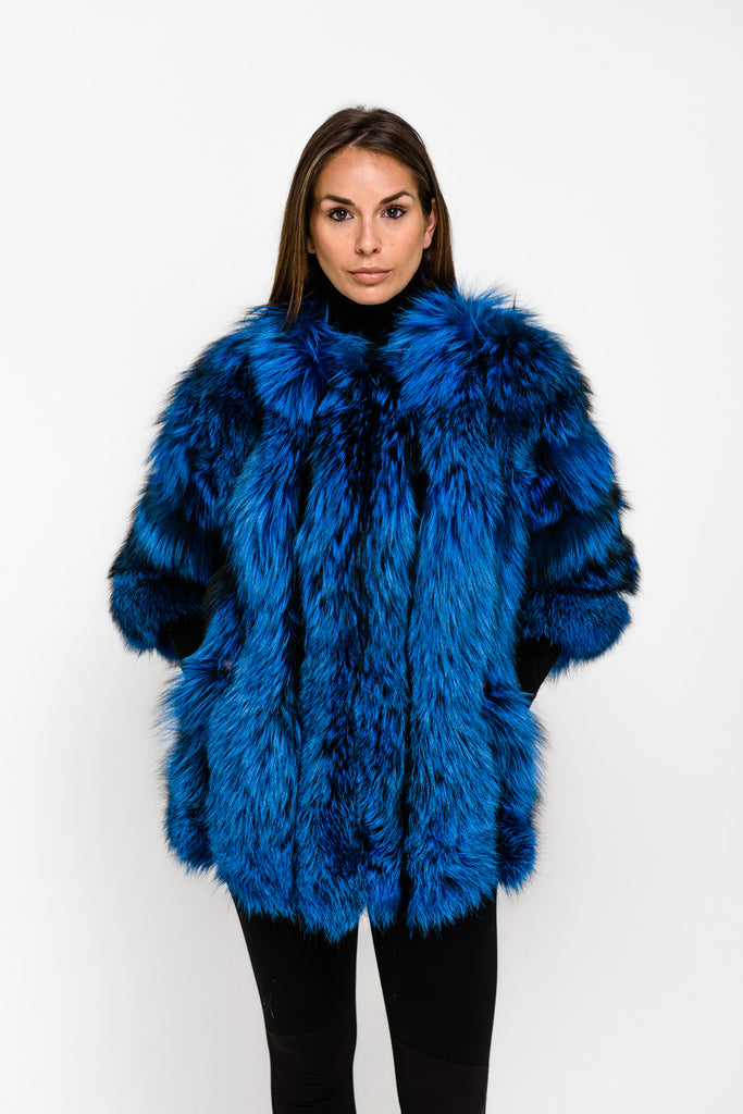 Limited Edition Blue Long Panel Fox Fur Coat - Poshpoms