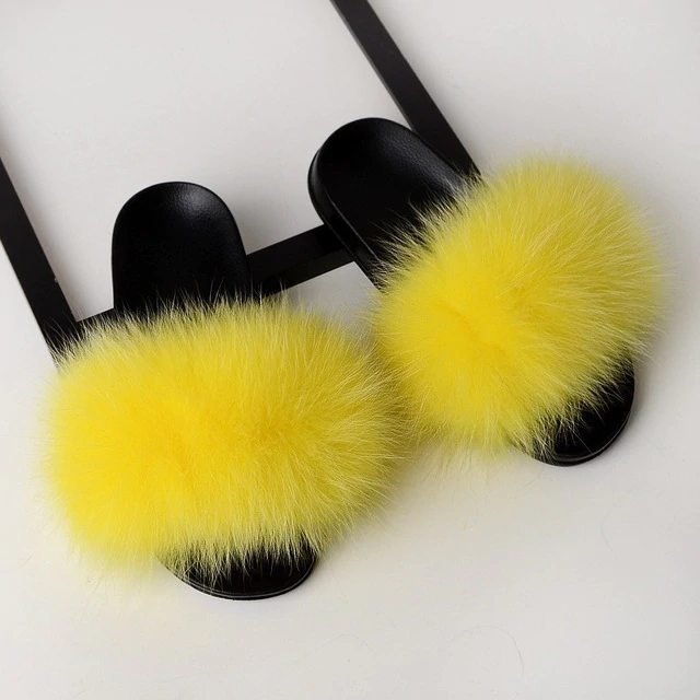 Fox Fur Sliders - Yellow