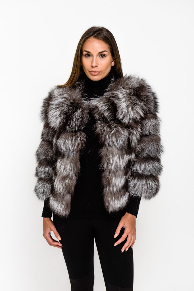 Silver Fox Five Panel Fox Fur Coat - Poshpoms