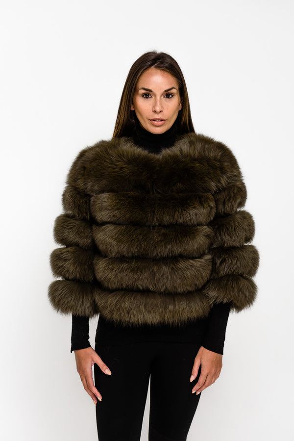 Khaki Five Panel Fox Fur Coat - Poshpoms