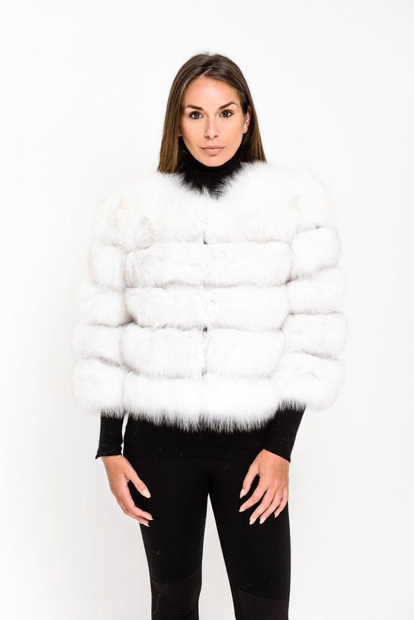 White Five Panel Fox Fur Coat - Poshpoms