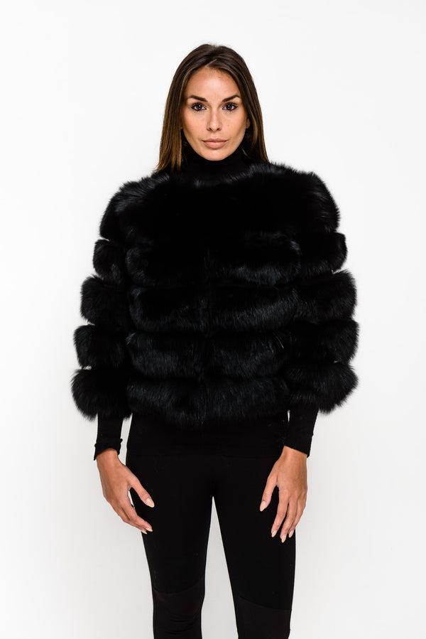 Black Five Panel Fox Fur Coat - Poshpoms