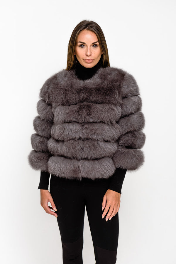 Grey Five Panel Fox Fur Coat - Poshpoms